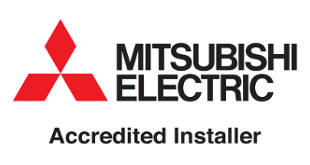 mitsubishi electric logo certifying JL Phillips as an accredited installer