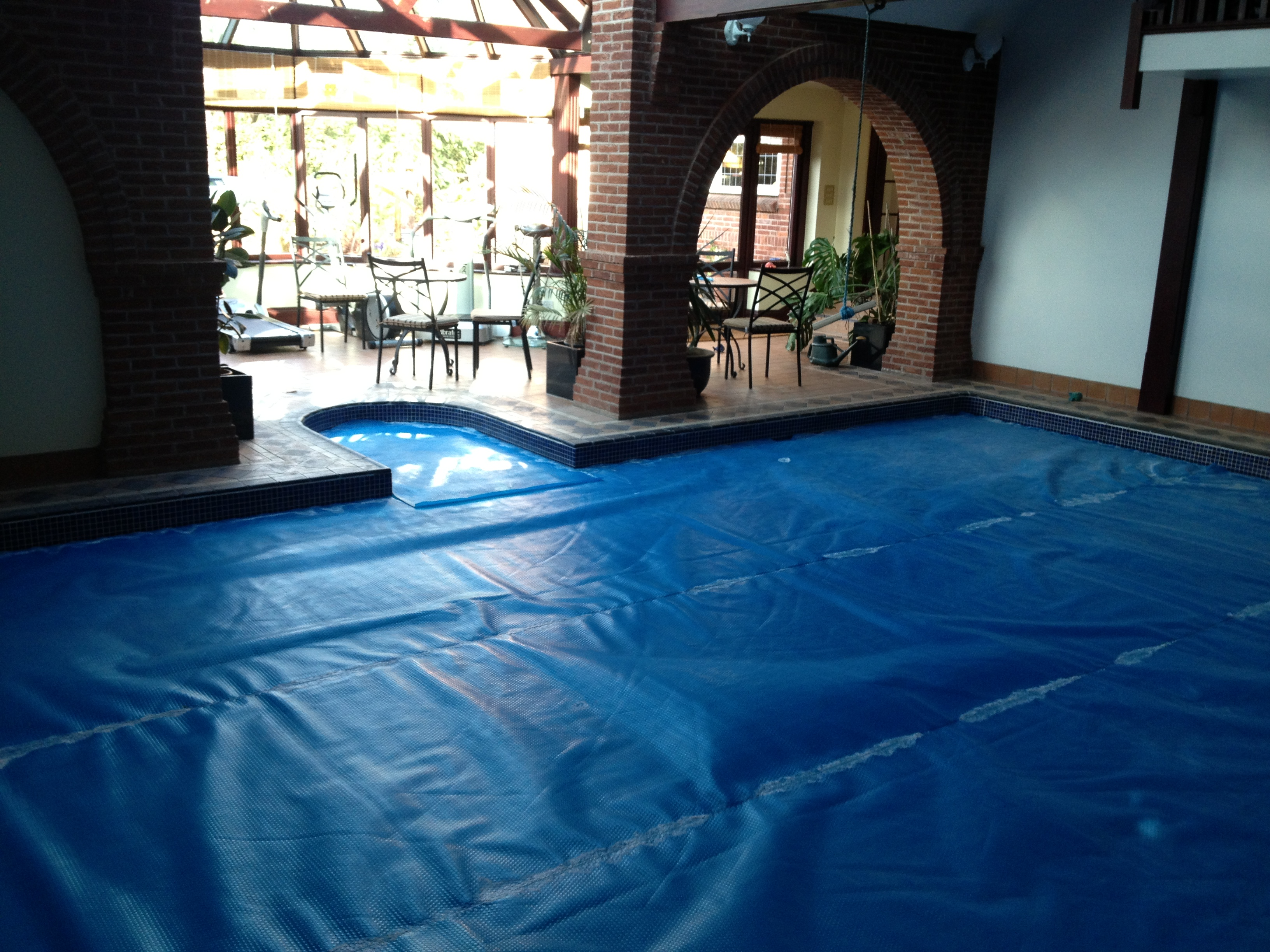 image of swimming pool covered over during project