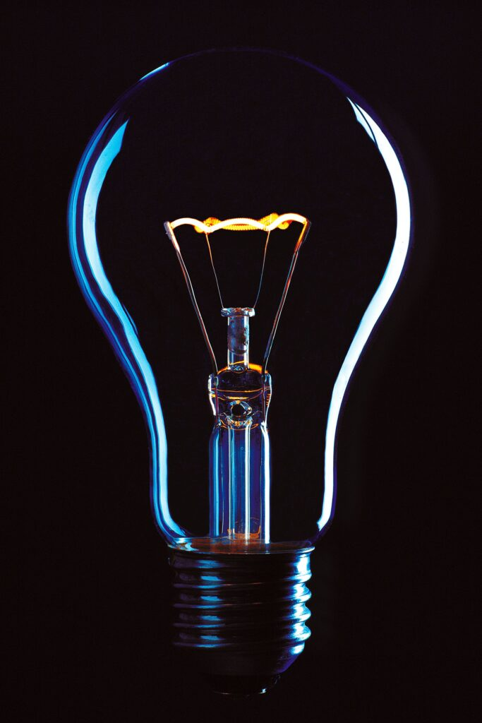 offset your business carbon footprint by adopting green and sustainable practices, light bulb representing energy efficiency