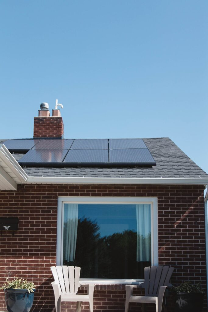 solar thermal vs solar pv, solar panels installed on the roof of a home
