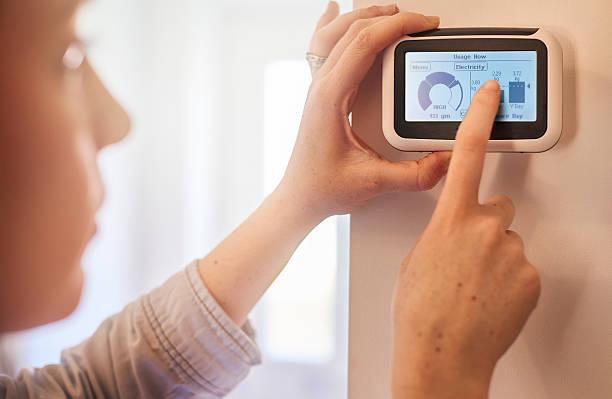 smart meter installation, woman setting up a smart meter at home